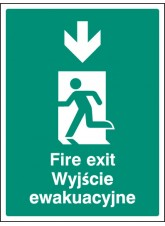 Fire Exit Arrow - Down (English / Polish)