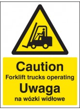 Caution Forklift Trucks Operating (English / Polish)
