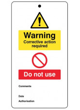 10 x Warning Corrective Action Required - Double Sided Safety Tags