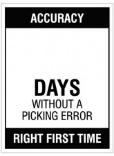 """Large Wipe Clean Board """"Accuracy (Write Number) Days without a Picking Error"""""""