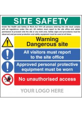 Site Safety Board - Dangerous Site - Visitors - PPE - Access - Site Saver Sign 1220 x 1220mm