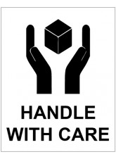 250 x Handle with Care Labels - 75 x 100mm