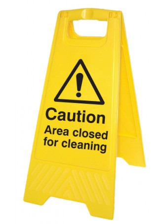 Caution Area Closed for Cleaning - Self Standing Folding Sign