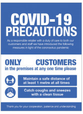 COVID 19 Precautions - 1m / 2m / Generic Distance Options - Blue